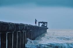 First man on pier