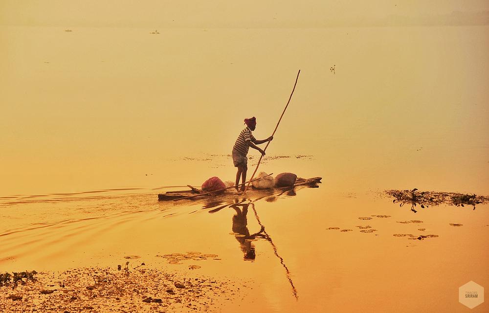 Fishing in glittering waters