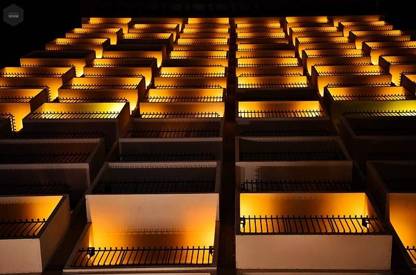 Lit up balconies