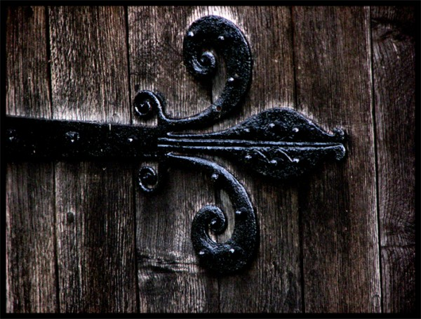 A hinge on a church door