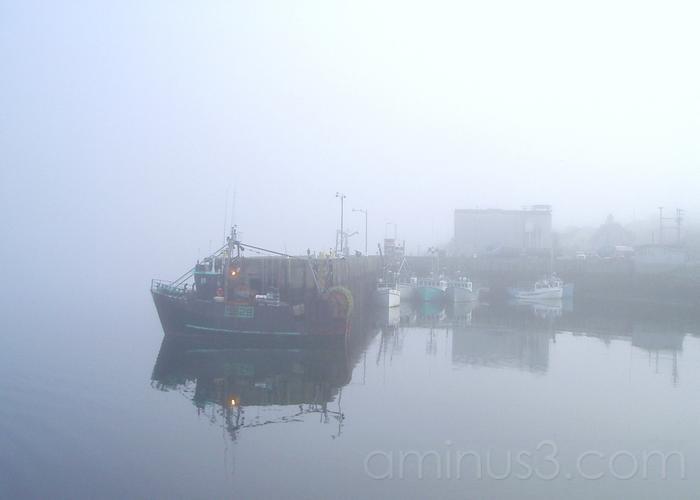early morning fog at Yarmouth Harbor