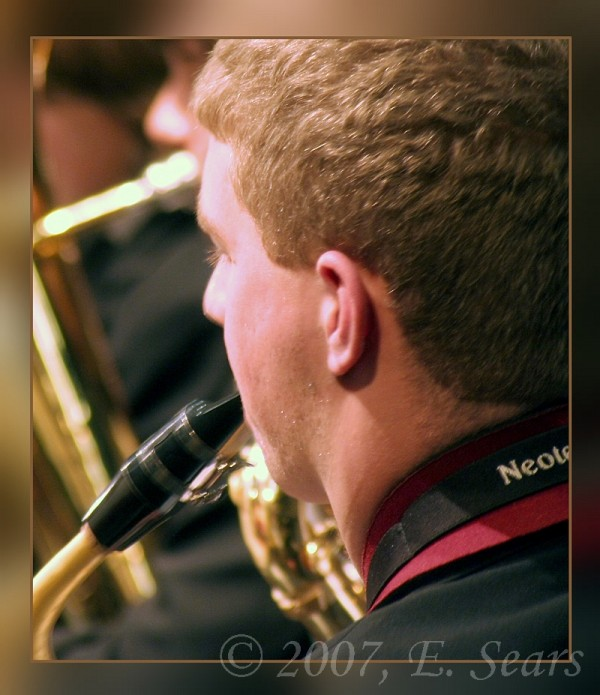 closeup of a saxophone player