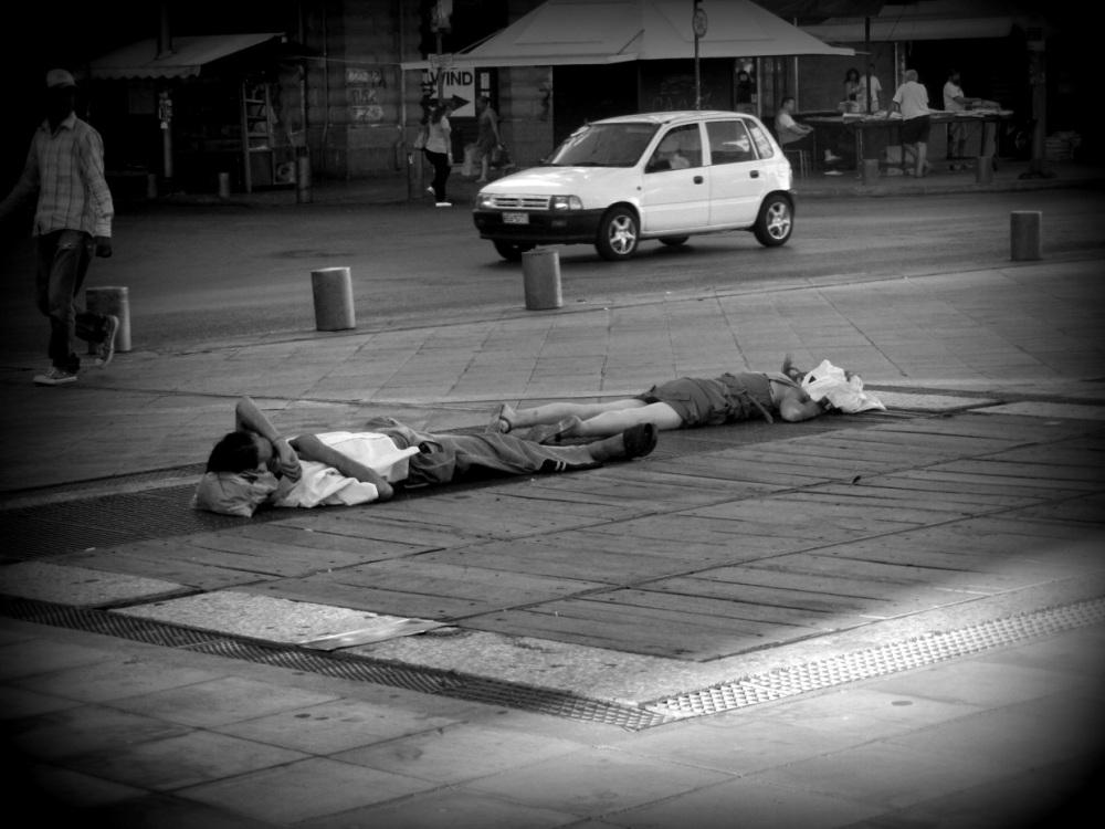 Junkies. Sunday morning 8.30 a.m, Athens