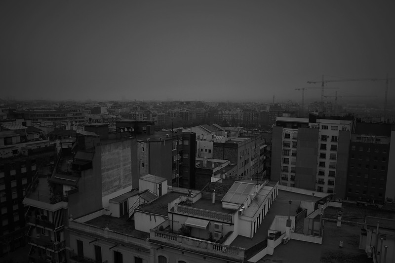 misty foggy barcelona