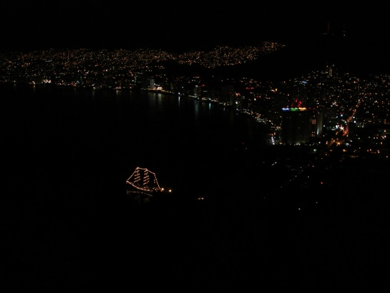 a boat in the middle of the night in Acapulco
