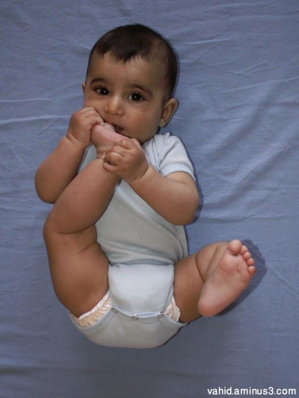 Adrian tasting his foot