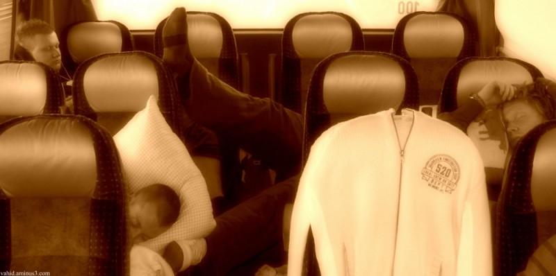 Sleeping in bus