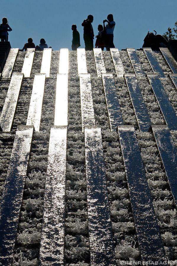 Parc de Bercy, cascade en escalier