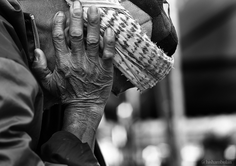 Hand of hardworking Father