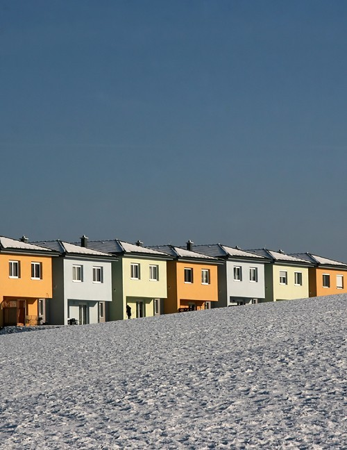 houses in the snow