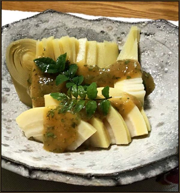 Bamboo Shoot Served with JP Pepper & Miso Dressing