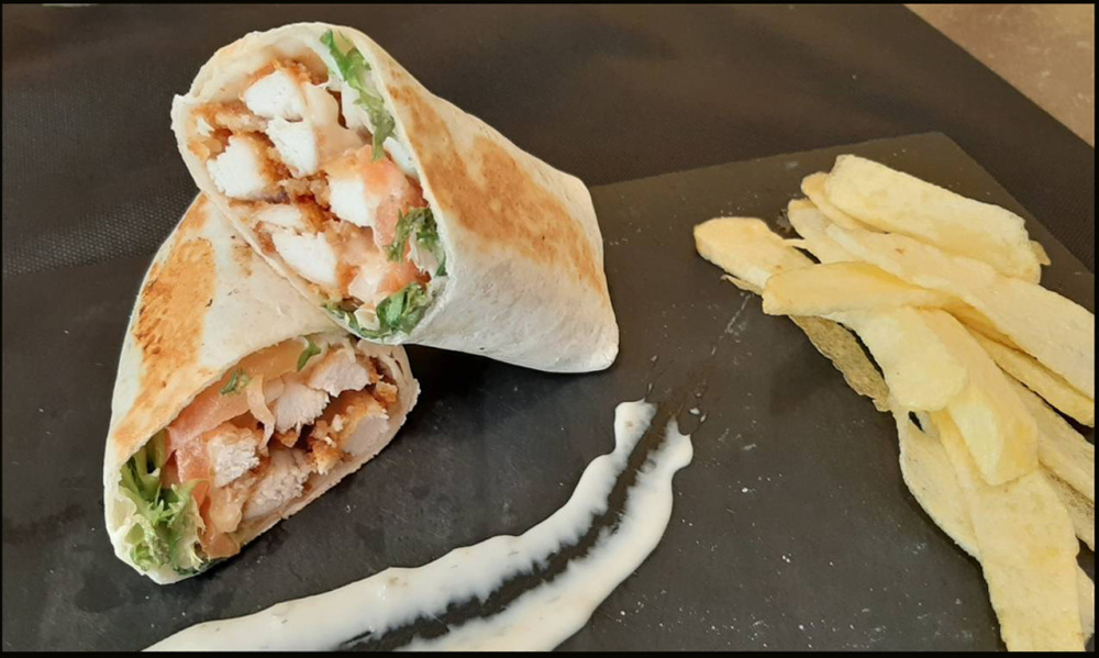 Chicken Caesar Wraps with Crispy Potato Strips