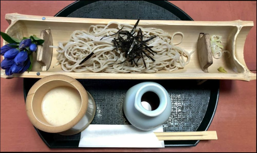 Cold Soba with Dipping Sauce & Grated Raw Nagaimo