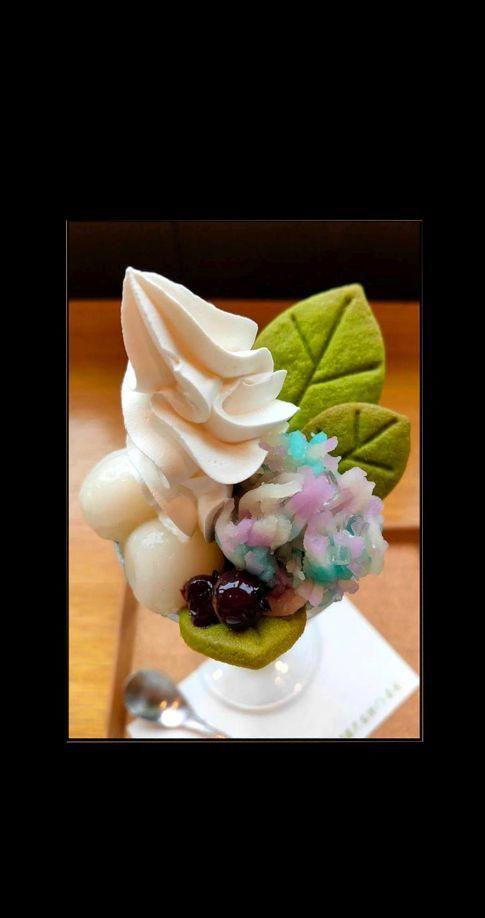 Soft Serve Parfait with Japanese Wagashi