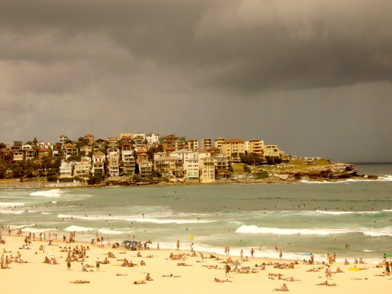 stormy sky at bondi beach