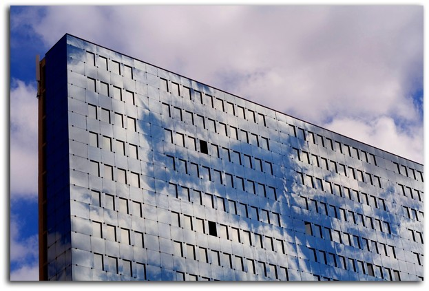 reflects on a building