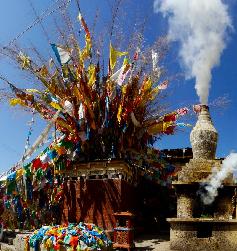 Prayer flags and small temple