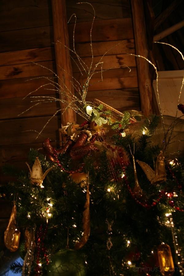 Christmas tree in barn