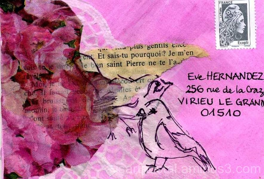Roses et oiseaux