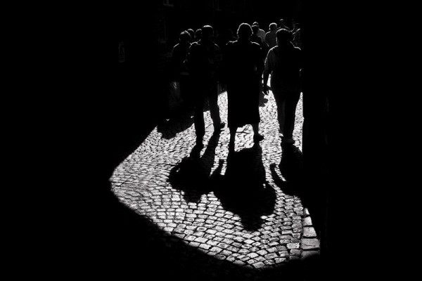 Shadows on a Cobblestone Road