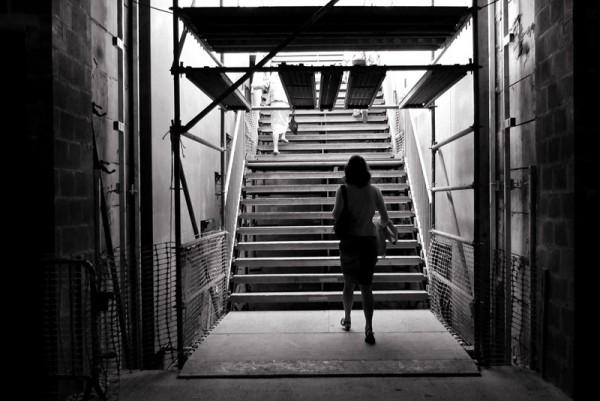 woman near stairs