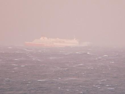 Spirit of Tasmania, battling huge seas.