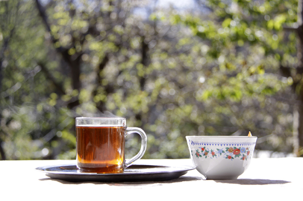 A cup of hot tea and Sugar bowl یک لیوان چای داغ و