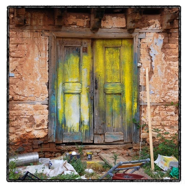 door yellow ruins