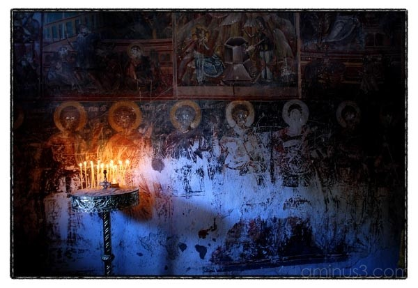 old church paintings with candles