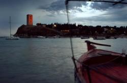clouds storm dock sea lights port