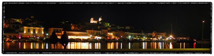 galaxidi greece port houses sky sea night city lig