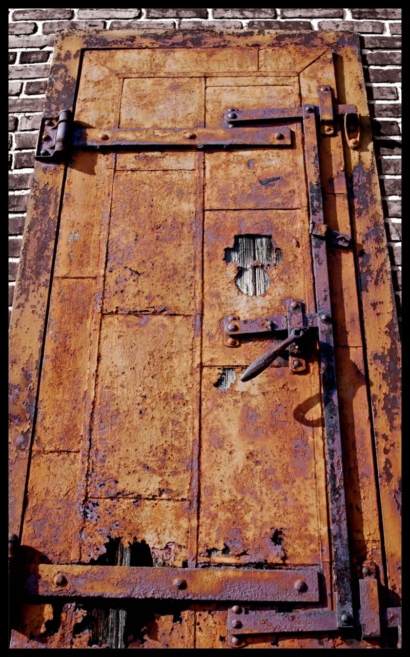Rusted garden door of an abandoned building.