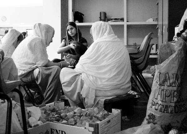 Ladies preparing food at Gurdwara, Ilford, London