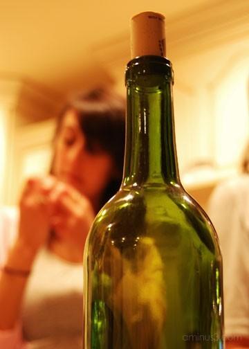 Girl With Wine Bottle