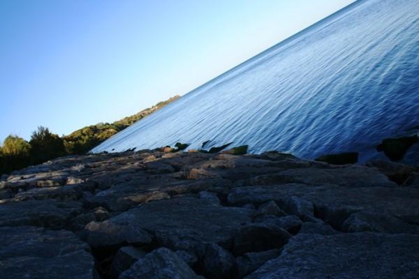 lake, rocks