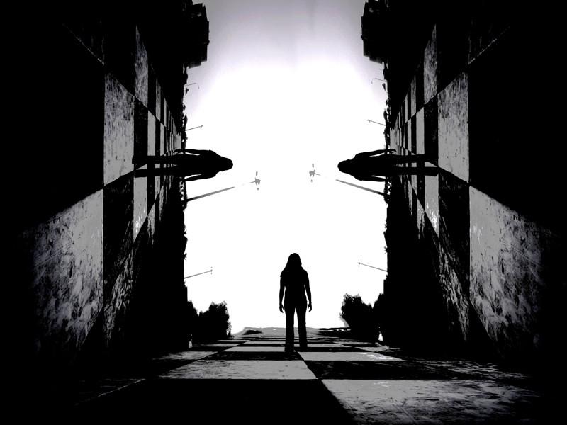 camino, persona, sombras, siluetas