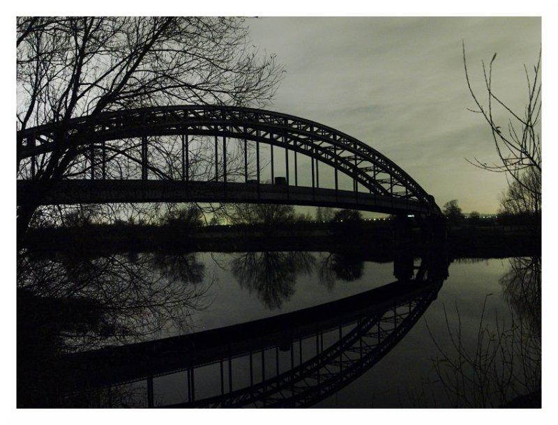 iron pipe bridge total darkness river trent