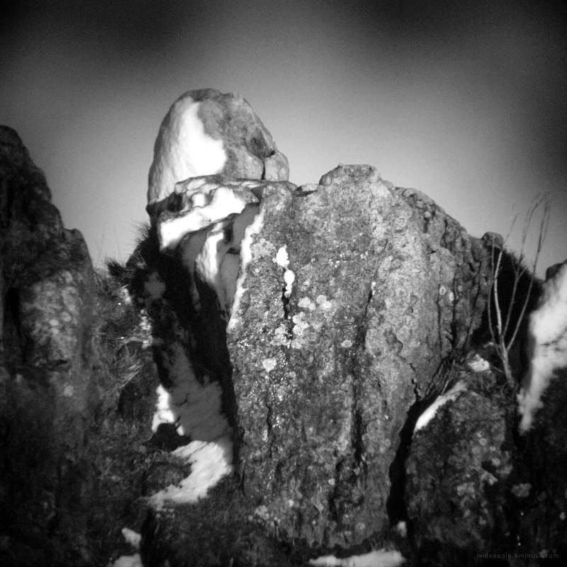 rock snow cold winter holga