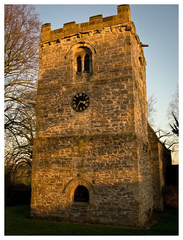 dovedale church late sunshine winter