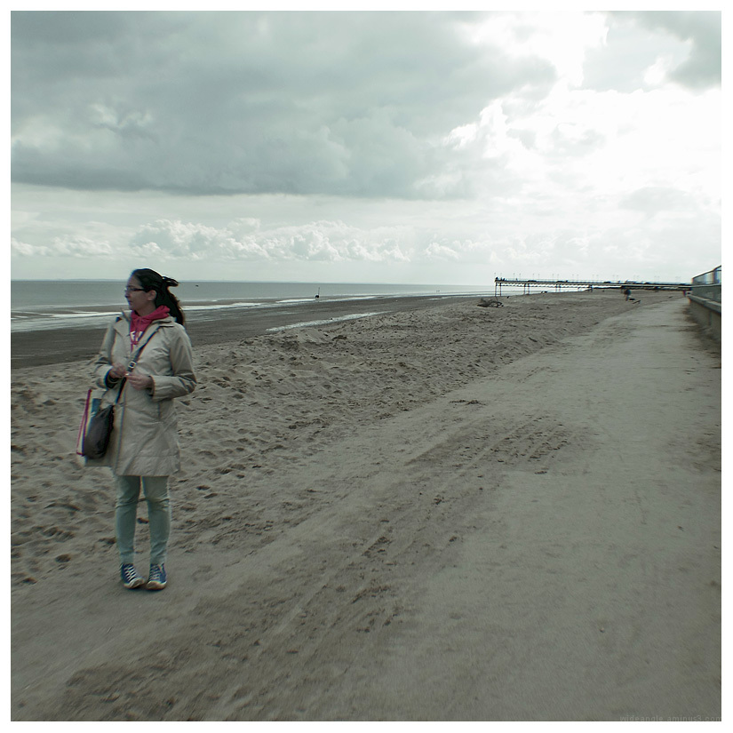 woman cold beach skegness