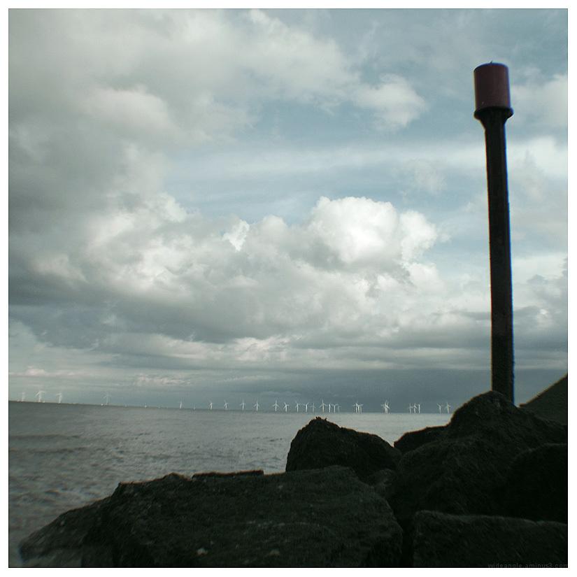 windfarm offshore skegness beach bay rocks