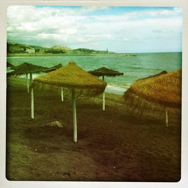beach shade thatch malaga spain