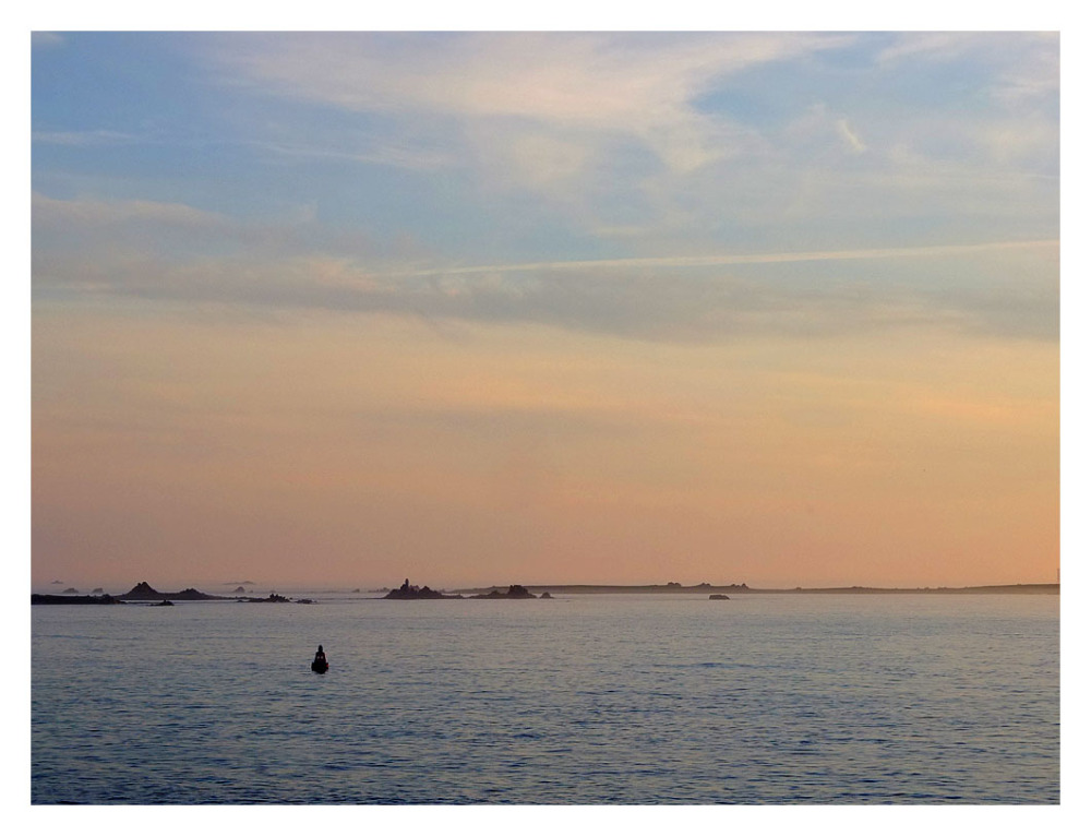 seascape scilly isles pink salmon blue sky