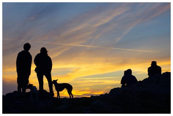 sunset watchers silhouette pembrokeshire wales