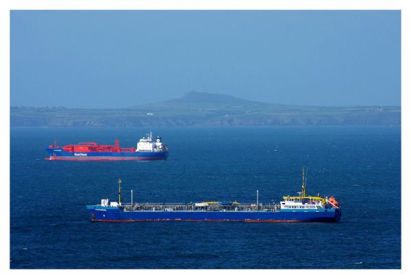 big tankers welsh coast sea