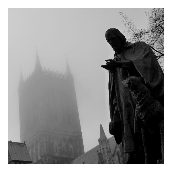 lincoln cathedral misty november black white