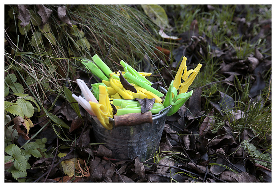 pegs green yellow garden