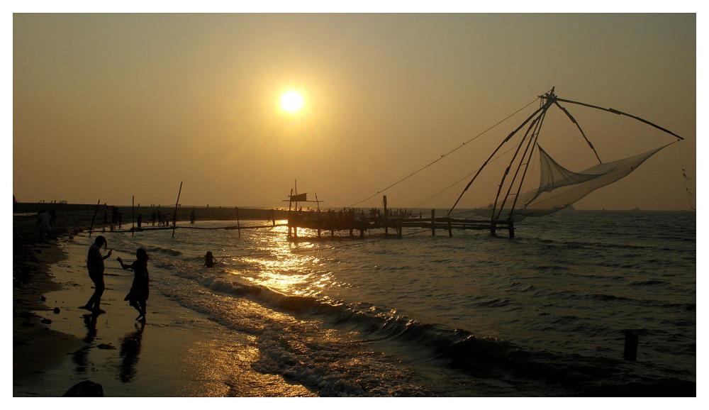 kochin chinese fishing nets sunset