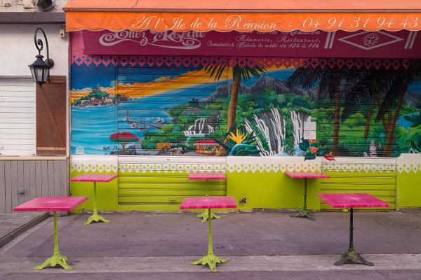 pink tables garish decor marseille