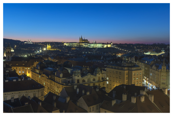 prague night tower view city lights